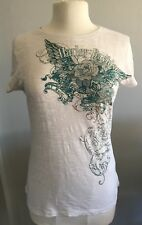 Harley Davidson Women's Burn Out Rhinestone Floral Short Sleeve T Shirt sz Med