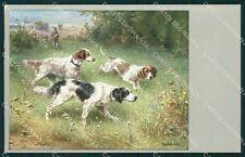 Reichert Hunting Dog Caccia MM 293 postcard cartolina QT7075