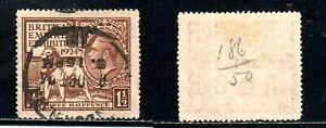 GREAT BRITAIN #186 1½ p DK BRN LION & GEO V 1924 BRITISH EMPIRE EXH. USED STAMP