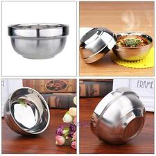Stainless Steel Meal Soup Rice Bowl Double Layer Child Anti-Hot Insulation Bowls