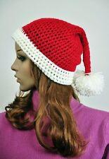 100% Cotton Hand Knit Cute Santa Claus Christmas Hat Beanie Cap Red & White