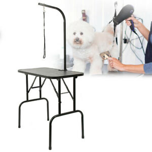 Adjustable with Arm Noose & Folding Legs Black Portable Pet Dog Grooming Table
