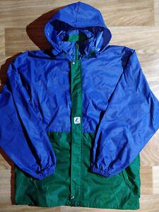 K-Way 90's Mens Windbreaker Hooded Nylon Jacket Hoodie Rainproof Purple Green