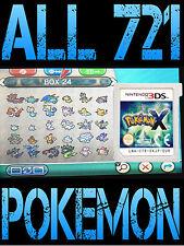 Genuine Pokemon X con todos los 721 brillante Pokemon todos los artículos NINTENDO 3DS/2DS y