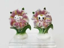 Vintage Anthropomorphic Smiling Flower Face Salt Pepper Shakers Japan PY
