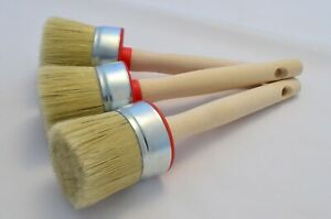 3 of 55mm Pure Bristle Round Paint Brushes, Shabby Chic Chalk Paint, Wax & Oil.