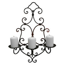 BLACK ShabbyChic Wrought Iron Wall Outdoor Garden indoor Candle Tea Light Holder