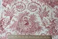 """Antique Country French Red & White Printed Cotton Toile Fabric c1880~41""""L X 31""""W"""