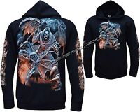 Grim Reaper Glow In The Dark Dragon Skull Axe Zip Zipped Hoodie Hoody Jacket
