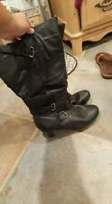 Avenue Tall Boots Heels Leather Buckled Size 11 WIDE CALF