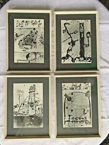 VINTAGE 1960/70s framed W HEATH ROBINSON PRINTS first colliery 1922 series of 4