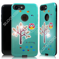 For iPhone 7 Plus Hybrid Diamond Bling Hard Case Cover Slim Shockproof Teal Owl