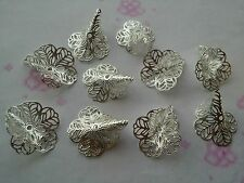 10 Extra Large Filigrane Trompette Lilly Flower Bead Caps cone plaqué argent