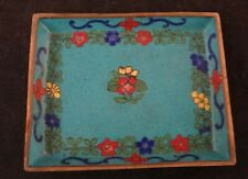 Antique Chinese Enamel on Copper Cloisonné Tray, Qing Dyn. 4 1/8� x 3 ¼�.