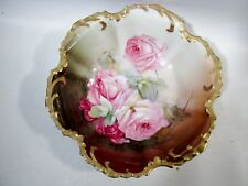 Antique Hand Painted China Large Pink Cabbage Roses Porcelain Bowl