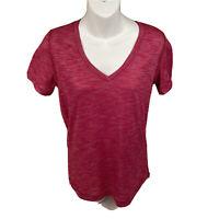 Lululemon Womens Top Tee Sz Small-medium Cranberry Pink Heather Short Sleeve