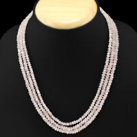 TOP GRADE SELLING 178.00 CTS NATURAL 3 STRAND PINK ROSE QUARTZ BEADS NECKLACE