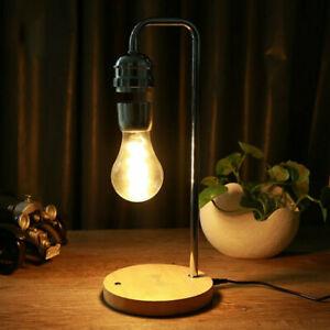 Magnetic Levitating Light Bulb Desk Wood Grain Warm White With Qi Charging