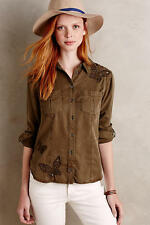 NWT  ANTHROPOLOGIE Embroidered Butterfly Buttondown shirt top blouse12