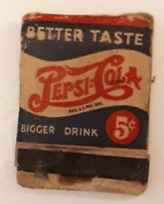 "RARE VINTAGE PRE-1953 AMERICAN ""PEPSI:COLA 2-DOT"" MATCHBOOK COVER-GOOD- CLIPPED"