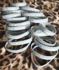 Gray and White End Alz Alzheimer's Silicone Awareness Bracelets Walk to end alz