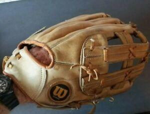 "WILSON 12""-13"" A9811 Softball Glove RHT Fielders Mitt Tan All Leather Nice!"