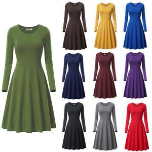 Women Solid A Line Long Sleeve Crew Neck Midi Dress Casual Warm T Shirt Dress