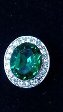CREATED EMERALD & WHITE TOPAZ OVAL STONE SILVER  RING SIZE P.5  NEW + BOX