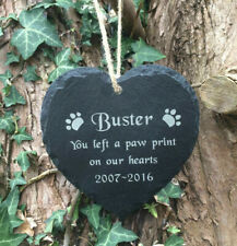 Personalised Engraved Slate Heart Pet Memorial Grave Marker Hanging Plaque Dog