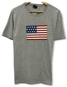 Vintage Polo Sport Ralph Lauren Men's Size M/L American Flag Gray T-Shirt euc