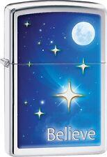 Zippo 2016 Catalog NEW Believe Blue Sky With Moon Stars High Polish Chrome 29071