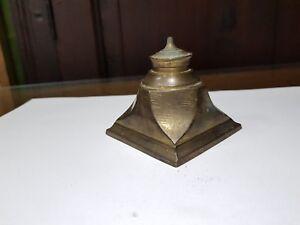1920s Vintage Original Old Unique Shape Brass Inkwell Ink Pot Rich Patina