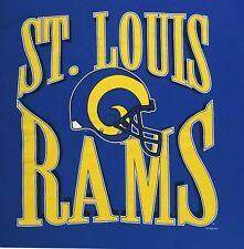 Vintage St. Louis Rams Big Spell Out Logo T-shirt XL Blue 90s NFL