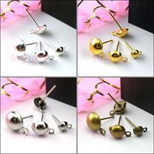 Ball Earring Post W/Loop 4mm,6mm,8mm,Silver,Gold,Bronze R5029