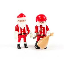 Lot of 2 Playmobil 1996 and 2000 Christmas Santa Father Noel Figurines