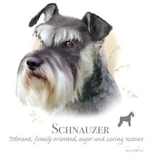"""SCHNAUZER Mini Dog Fabric with Phrase - ONE 18"""" x 22"""" Panel to Quilt & Sew"""