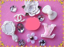 11pcsMix White Peony flower Kawaii Resin cabochon DIY cell phone Decoration