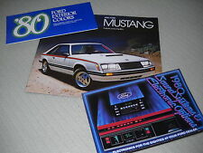 1980 FORD MUSTANG 20 p. BROCHURE CATALOG + ORIG. 80 PAINT CHIPS & SOUND SYSTEMS