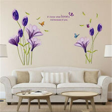 Quote Words Love Purple Flower Removable Vinyl Wall Sticker Mural DIY Home Decor