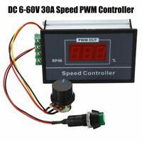 DC 6-60V 12V 24V 36V 48V 30A PWM DC Motor Speed Controller Durable Stepless Speed/Regulation Start Stop Switch for Motor