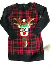 Blizzard Bay Ugly XMas Sweater Reindeer With Bells Women's Small