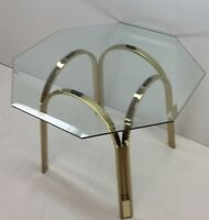 Vintage Mid Century Modern Dunbar Era Brass and Glass End Table 1970s