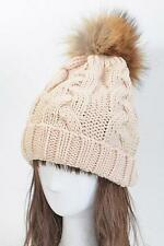 100% Genuine REAL Big FUR Ball Pom Chunky Knit Slouchy Beanie Ski Fashion Hat IT