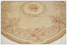 7X7 ROUND Aubusson Area Rug ANTIQUE FRENCH PASTEL Wool Country Home Decor Carpet