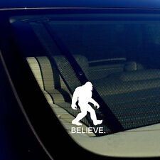 "BELIEVE Bigfoot Yeti Sasquatch Vinyl Decal Sticker 5"" Inches Tall White"