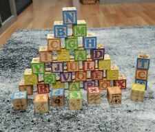 Playskool Baby Wooden ABC Blocks Lot 38 Pcs. Building Alphabet Numbers Education