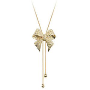 18K ROSE GOLD PLATED LONG GENUINE CLEAR AUSTRIAN CRYSTAL BOW NECKLACE