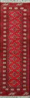 Geometric RED Bokhara Oriental Runner Rug Wool Hand-Knotted Hallway Carpet 2'x6'