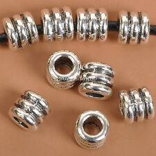 50pcs Tibetan Silver Tube Charm Loose Spacer Beads Bracelet  7MM  B3532