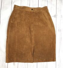 Casual Corner Women's Brown Suede Leather Pencil Skirt Knee Length Size 7/8